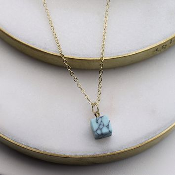 Cubic Marble Charm Necklace