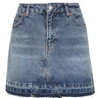MOTO Let Down Hem Denim Skirt | Topshop