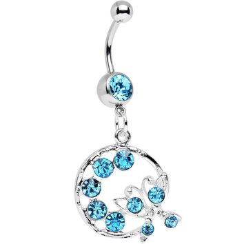 Aqua Gem Wreath and Butterfly Dangle Belly Ring