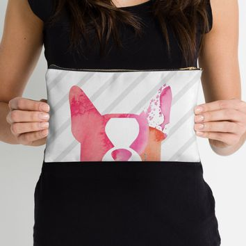 Peek a boo Boston Terrier zipper pouch, sleeve, pocket, clutch, bag, organizer - pink watercolors with stripes - other options