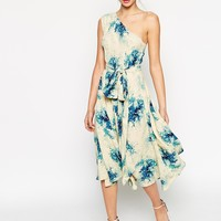ASOS Premium One Shoulder Midi Dress In Porcelain Flower Print at asos.com