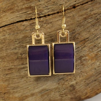 Curved Buckle Earrings, Purple