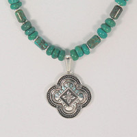 turquoise necklace, tribal pendant, real turquoise, hypoallergenic necklace