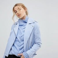 Miss Selfridge Leather Look Biker Jacket at asos.com