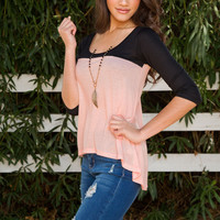 Undercover Two Tone Top - Blush