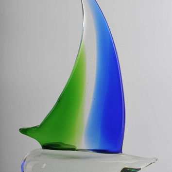 Glass Decoration of  a Blue and Green Saiing Boat Home Decor Murano Art Styled Blown Glass Figurine Colorful Statue