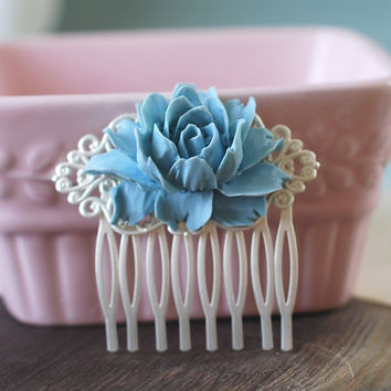 Large Dusky Blue Rose Flower Hair Comb.  Vintage Inspired Matte Silver Filigree Hair Comb. Wedding Bridal Hair Comb