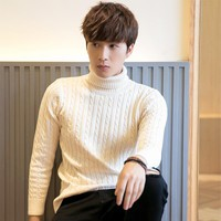Spring And Autumn Male Slim Thickening Turtleneck Sweater Male Casual Solid Sweater
