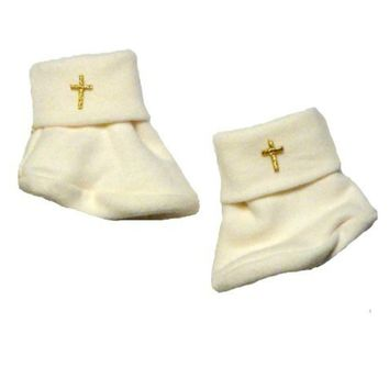 Ivory Unisex Baby Booties with Gold Crosses