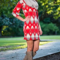 Ombre Aztec Dress, Red