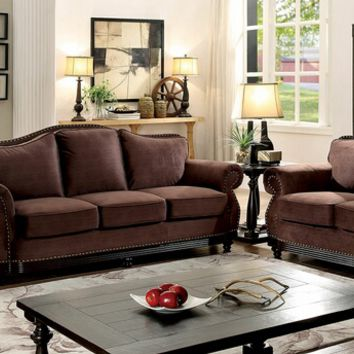 2 pc hetty collection brown fabric upholstered sofa and love seat with nail head trim accents