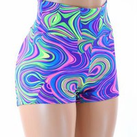NEON UV Glow Worm Print High Waist Pinup Shorts Rave Festival Clubwear
