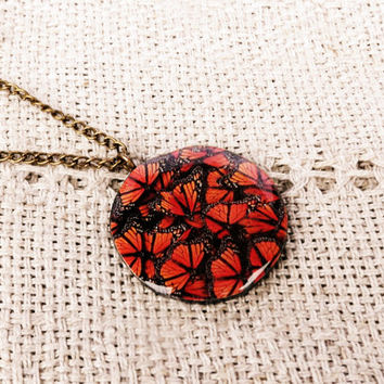 Monarch butterfly necklace, Pendant, Butterfly necklace, Butterfly pendant, Aristic, Insect, Bug, Resin, Wing, Wing pendant, Wing necklace
