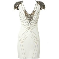 Bqueen Noble Beaded V-neck Dress K231B - Designer Shoes|Bqueenshoes.com
