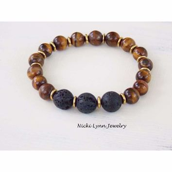 Tiger Eye Essential Oil Diffuser Aromatherapy Bracelet