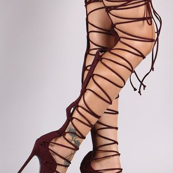 So Me Mista Demon Tie Up Laces Thigh High Heel Boot Size 11