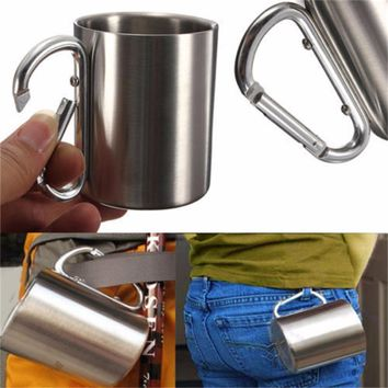 OUTAD 180ml Stainless Steel Camping Cup Double Wall Water Tea Coffee Mug Outdoor Travel Hike Cup with Carabiner Hook Handle