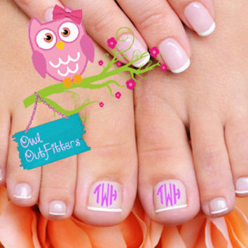 10 NAIL MONOGRAMMED DECALS by OwlOutfitters on Etsy