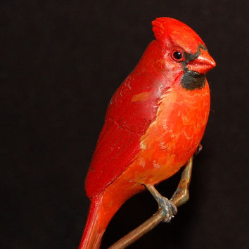 Cardinal-hand carved wooden songbird  wood carving handmade figurine Anniversary gift hand carved cardinal gift for her decorative carving