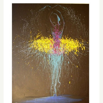 Abstract Ballerina - Black and Yellow Canvas Art - Ballerina Print from Oil Painting by Yuri Pysar