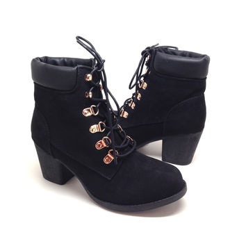 Women's Black Suede Short Boots with Chunky Heel