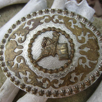 Vintage Barrel Racing Belt Buckle // Vintage Western Rodeo Award Belt Buckle