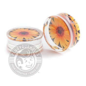 Sunflower Printed Inlay Acrylic Plugs