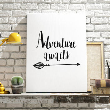 Adventure Awaits Printable Art Inspirational Quotes Wall Art Prints Digital Typography Art Digital Prints Black & White Art BlueBook Design