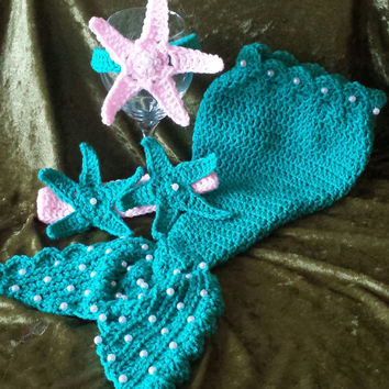 Crochet Mermaid Photo Prop / Costume with Pearls