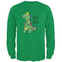 Christmas Tree Rex T-Rex Funny Dinosaur Mens Long Sleeve T Shirt