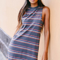 Multi Graphic Bandcut Dress - Charcoal Multi Stripe