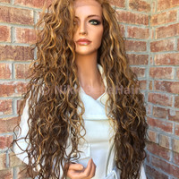 Dark Blonde Honey Balayage Swiss lace front wig 26""