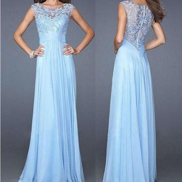 ESBOND Ball Gown Sexy Slim Lace Chiffon Zippers Prom Dress