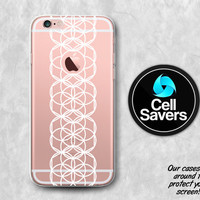 White Circles Clear iPhone 6s Case iPhone 6 Case iPhone 6 Plus iPhone 6s Plus iPhone 5c iPhone SE Clear Case Sacred Geometry White Line Art