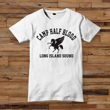 camp half blood white T shirt White Black Dsign t-shirt men S,M,L,XL