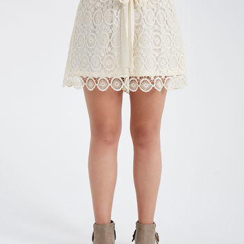 Plus Size Solid Crochet Shorts With Tie | Wet Seal Plus