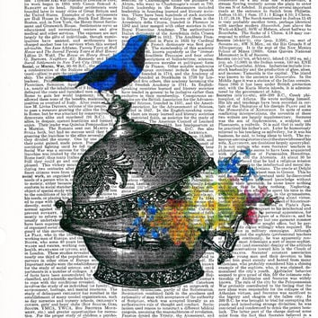 Wall Art Poster, Blue Bird Poster, Upcycle Art,Vintage Poster, Book Print, Art Print Dictionary, Collage Print, Gift Idea, Home Decor,Poster