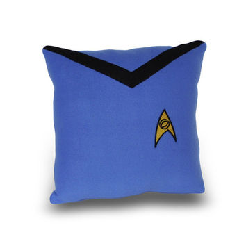 Star Trek Science Officer  Blue Pillow by YellowBugBoutique