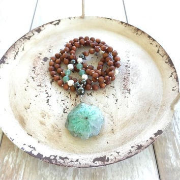 Bohemian Necklace, Boho Jewelry, Green Quartz Pendant, Gypsy Jewelry, Mala Beads, Yoga Necklace, 108 Bead Mala
