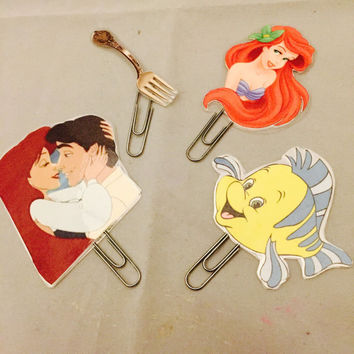 The little mermaid 4 piece bookmark set; planner decoration