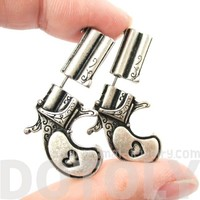 Unique Double Pistol Gun Shaped Fake Gauge Stud Earrings in Silver