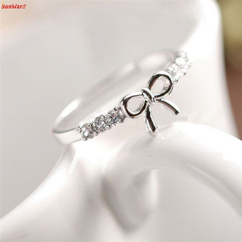The most Korean Jewelry Simple Crystal Bow Ring