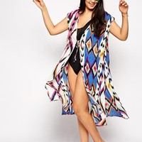 ASOS CURVE Exclusive Beach Cover Up in Coloured Print
