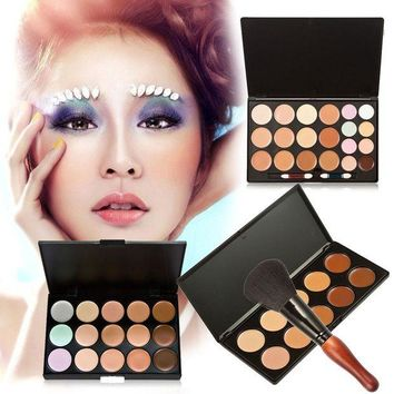 LMF57D 15/20/10 Colors Makeup Concealer Cream Cosmetic Palette Gourd Shape Concealer Powder Blush Brush Makeup Set