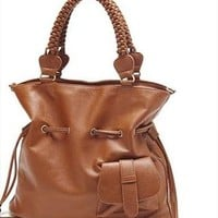 Leisure Fringed Brown Knit Shoulder Bag