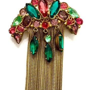 Jewel Tone Crystal and Gilt Filigree Brooch, Pierced Metal, Scrolled Wire Work, Rhinestones and Chain Dangles, Old World Regal Motif