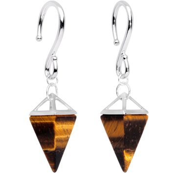 Handcrafted Silver Plated Tiger Eye Stone Pyramid Ear Weights