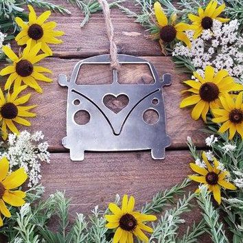 Volkswagen Van Love Rustic Raw Steel Ornament