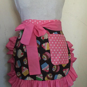 Black Cupcake Apron Ruffles Arpon Rockabilly Sexy Apron French Maid BBQ Sassy Frilly Cute Apron Birthday Gift Hostess Gift Barmaid