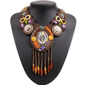 PEAPU3S 2017 New Design Fashion Vintage Tibetan Button Big Chunky Statement Bib Bead Tassel Pendant Choker Necklace Collar For Women